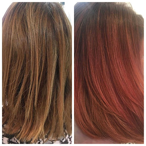 Colour refresh on brown hair with subtle, red/brown highlights