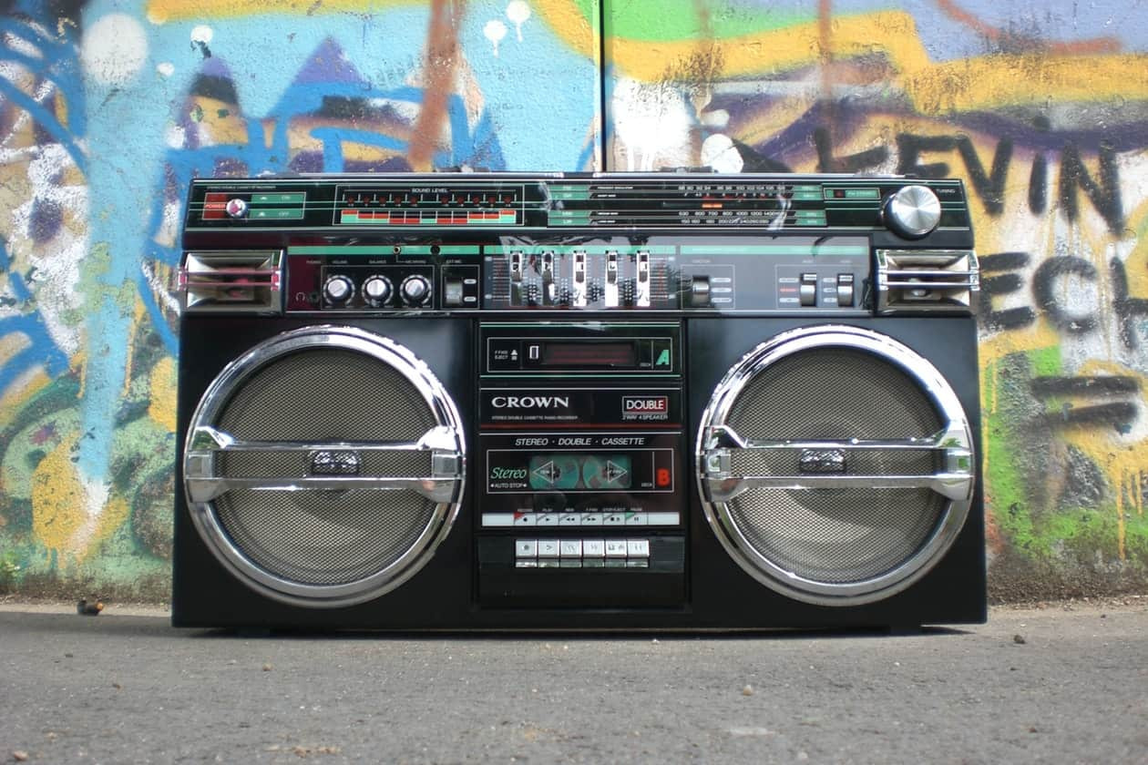 Crown ghetto blaster against urban background